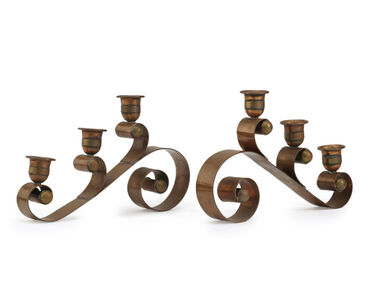 Hector Aguilar, 'A pair of Hector Aguilar copper and brass candelabra', c.1940