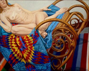Philip Pearlstein, 'Model on Bentwood Rocker and American Quilt', 2012