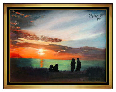 Federico Aguilar Alcuaz, 'Federico Aguilar Alcuaz Original Oil Painting On Canvas Seascape Sunset Signed', 1983