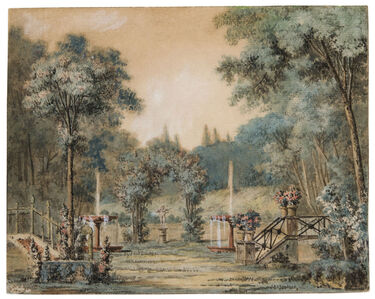 Charles-Dominique-Joseph Eisen, 'A Garden with Fountains and a Statue of Cupod', 18th Century