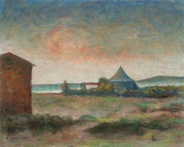 "Carlo Carrà, '""Seascape - The Tent on the Sea""', 1940"