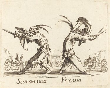 after Jacques Callot, 'Scaramucia and Fricasso'