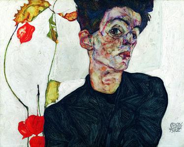Egon Schiele, 'Selbstbildnis mit Lampionfrüchten', 1912
