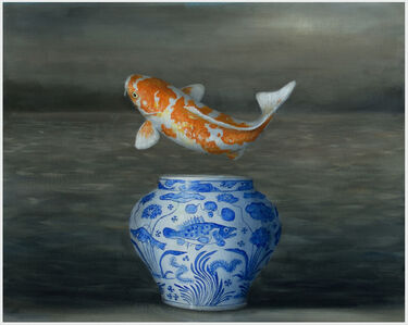David Kroll, 'Landscape (Koi and Blue Vase)', 2019