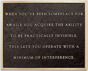 Jenny Holzer, 'Living: When you've been someplace...', 1981