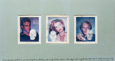 Andy Warhol, 'Skull Photos for the Harry Horn Collection with Evelyn Kuhn, Andy Warhol, and Larry Rivers, 1976 Inscribed by Peter Beard and signed by Andy Warhol Photography, Ink', 1976