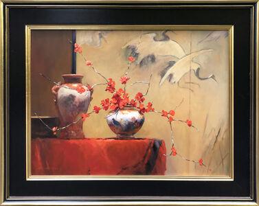Jacqueline Fowler, 'Cranes with Japonica', ca. 2017