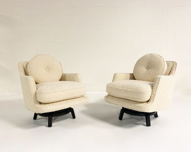 Edward Wormley, 'Model 5609 Swivel Lounge Chairs in Schumacher Boucle, Pair', c 1950s