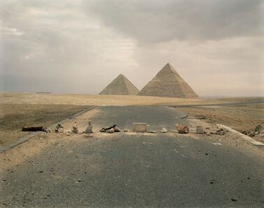 Richard Misrach, 'Road Blockade and Pyramids ', 1989
