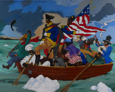 Robert Colescott, 'George Washington Carver Crossing the Delaware: Page from an American History Textbook', 1975