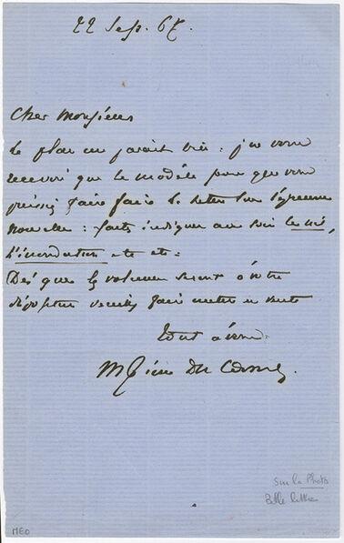 Maxime Du Camp, 'Signed letter', 1866 / 1866