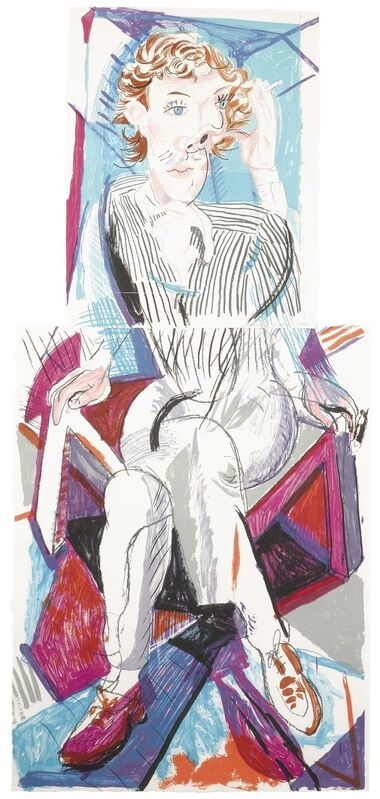 David Hockney, 'An Image of Gregory (M.C.A.T. 276)', 1984-85, Print, Lithograph printed in colors in two parts, the first with collage, Sotheby's