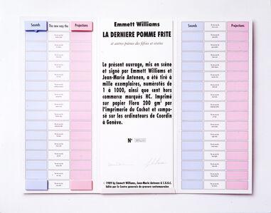 Emmett Williams, 'La dernière pomme frite et autres poèmes des fifties et sixties', 1989