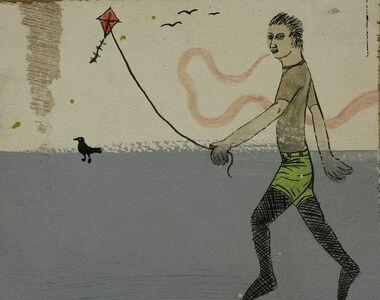 Ed Templeton, 'Man Flying Kite ,Bird,Fishnets', 2002