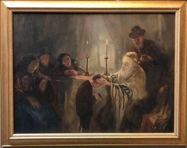 Anton Peczely, 'Blessing of the Tzadik (Rebbe) Rare Hungarian Judaica Oil Painting',  Early 20th Century