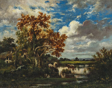 Jules Dupré, 'Early Autumn Landscape with Cows Watering'