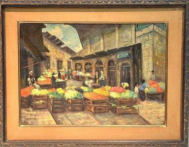 Rabbi Yehuda Leon Patilon, 'Rare Judaica Jerusalem Shuk Market Scene Oil Painting. Famous Kabbalist Artist', Mid-20th Century