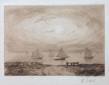 Charles Cottet, 'Barques au clair de lune', 1906