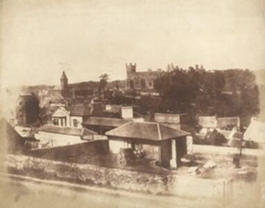 Hill & Adamson, 'Linlithgow, from the railway station, with the Town Hall, St. Michael's Church, and Palace', 1843-1847