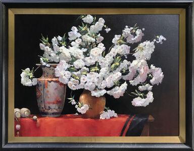 Jacqueline Fowler, 'Red Silk With Imari Vase', ca. 2017