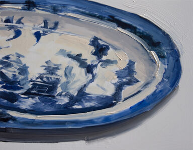 Carrie Mae Smith, 'Japanese Blue + White China Oval Tray Partial', 2018