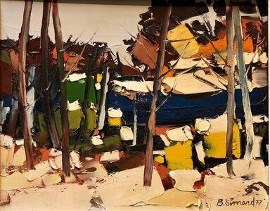 Benoit Simard, 'Canadian Modernist Oil Painting Abstract landscape Sugar Shack', 1970-1979