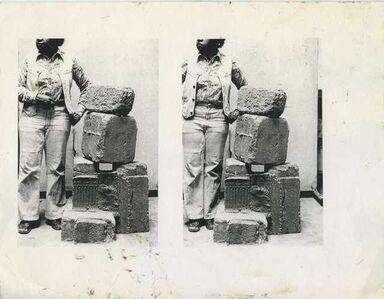 Beverly Buchanan, 'Untitled (Double Portrait of Artist with Frustula Sculpture)'