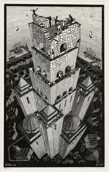 Maurits Cornelis Escher, 'Tower of Babel', 1928