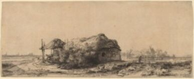 Landscape with a Cottage and Hay Barn: Oblong