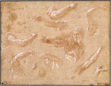 Francesco Primaticcio, 'Study of God the Father with Angels', 1555-1560