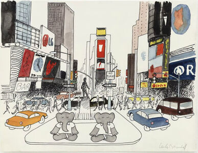 "Laurent de Brunhoff, '""We love New York, but the traffic in Times Square,"" published in Babar's Yoga for Elephants', 2002"