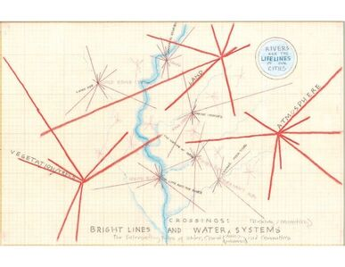 Mary Miss, 'Crossings: Bright Lines & Water Systems, drawing', 2014