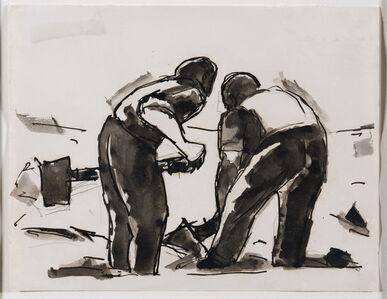 Josef Herman RA, 'Two men with shovels', 1956