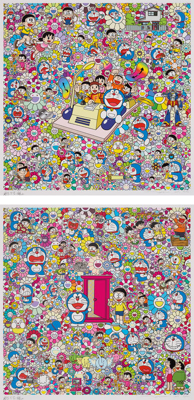 Takashi Murakami, 'We Can Go Anywhere With Mr Fujiko F. Fujio And The Time Machine!; and There Are Many Dokodemo Doors', 2019, Print, Two screenprints in colours, one with cold stamped gold and silver foil, on smooth wove paper, with full margins., Phillips