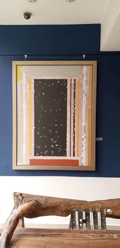 Amitava Das, 'Abstract, Mixed Media, black silver pink grey colors, textured with gold by Modern Indian Artist Amitava Das', 2007, Painting, Mixed Media on canvas, Gallery Kolkata