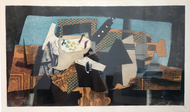 Cubist still life with fruit and guitar