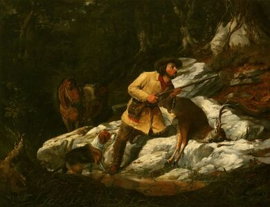 Arthur Fitzwilliam Tait, 'Huntsman with Deer, Horse and Rifle', 1854