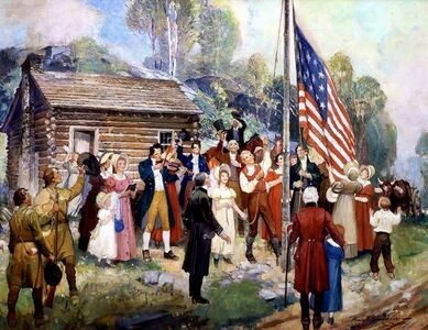 Frank Schoonover, 'The First Flag Raising', 1941