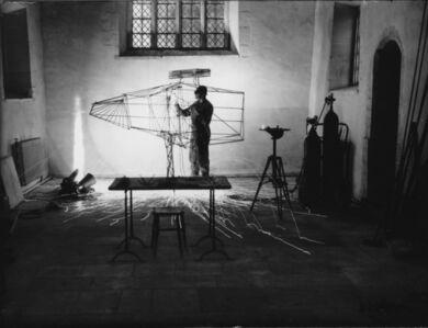 David Farrell, 'Lynn Chadwick with 'Stranger III' in the chapel at Lypiatt', 1958