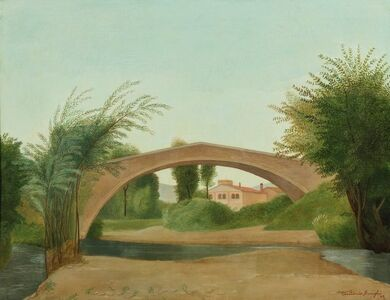 Antonio Donghi, 'Landscape with bridge'