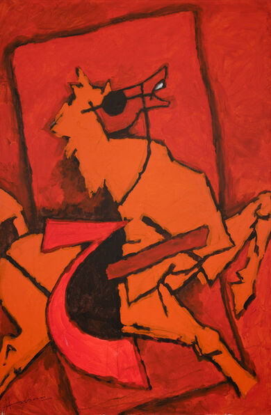 M. F. Husain, 'Untitled (Red Horse)', 2004