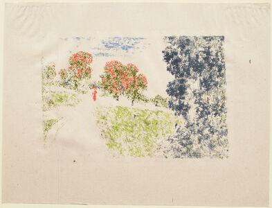Ker Xavier Roussel, 'Landscapes: Figure Carrying an Umbrella (Femme en Rouge Dans un Paysage)', 1898