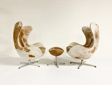 Arne Jacobsen, 'Egg Chairs and Ottoman in Brazilian Cowhide', mid 20th century
