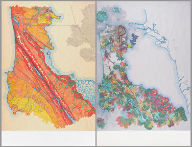 Tiffany Chung, 'San Francisco, 1895 USGS map: distribution of apparent intensity based on Rossi-Forel scale, the known faults, and the routes examined; San Francisco, 1907 USGS map: the burned district, the city, and the principal conduits in the water', 2012