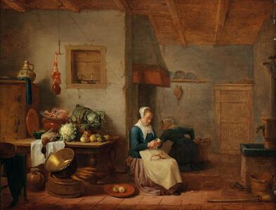 Hendrik Martensz. Sorgh, 'A kitchen interior with two maids', ca. 1650