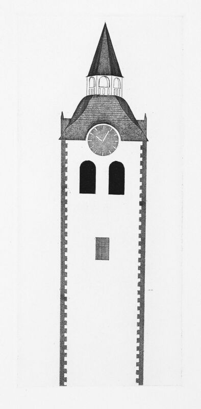 David Hockney, 'The Church Tower and the Clock', 1969, Print, Etching and aquatint, Goldmark Gallery