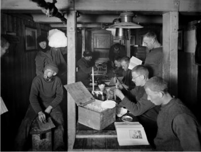 Frank Hurley, 'A morning in the ''Ritz'', on board the Endurance in midwinter', 1914-1917