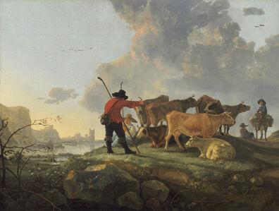Aelbert Cuyp, 'Herdsmen Tending Cattle', 1655/1660