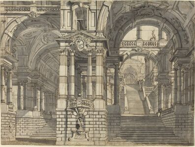 Pietro Gonzaga, 'An Architectural Fantasy of Magnificent Courtyards and Loggie with a Monumental Staircase', ca. 1775