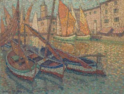 Jacques Martin-Ferrieres , 'Sailboats in a Harbor', 1924